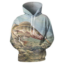 YOUTHUP New Arrival 3D Fish Printed Mens Hoodies Unique Design Full Hooded Pullovers Male Cool Sweatshirts