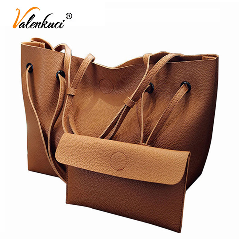 Soft Leather Women Bag Set Luxury Brand 2018 Fashion Designer Female Shoulder Bags Casual