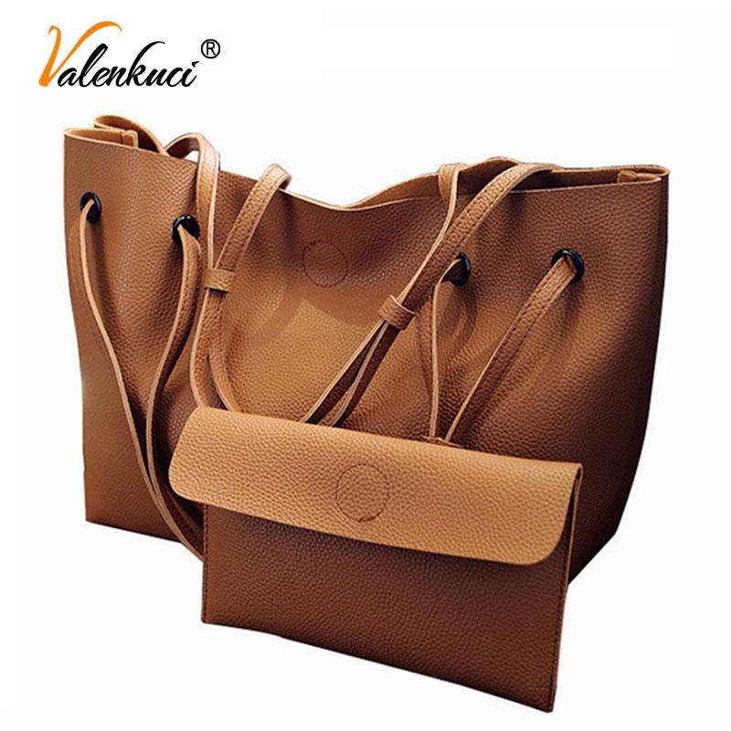 Soft Leather Women Bag Set Luxury Brand 2018 Fashion Designer Female Shoulder Bags Big Casual Bags Handbag High Quality SD-748 2 in 1 korea bag