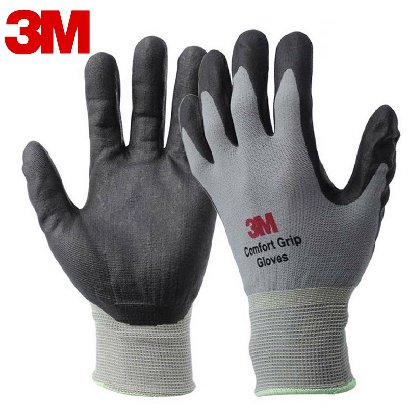 3M Work Gloves Comfort Grip wear-resistant Slip-resistant Gloves Anti-labor Safety Gloves Nitrile Rubber Gloves size L/M free shipping abrasion king nitrile labor work gloves hanging plastic adhesive anti slip wear cut