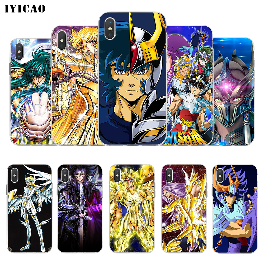 IYICAO Cartoon Saint Seiya Soft Silicone Phone Case For  IPhone X XR XS MAX 6 6s 7 8 Plus X 5 5S SE TPU Cover