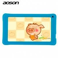 Nueva 7 Pulgadas Kids Niños Tablet PC AOSON A33 Quad Core Android 4.4 de la Tableta del Wifi 8G ROM 1024*600 HD de Doble Cámara Con Funda de Silicona