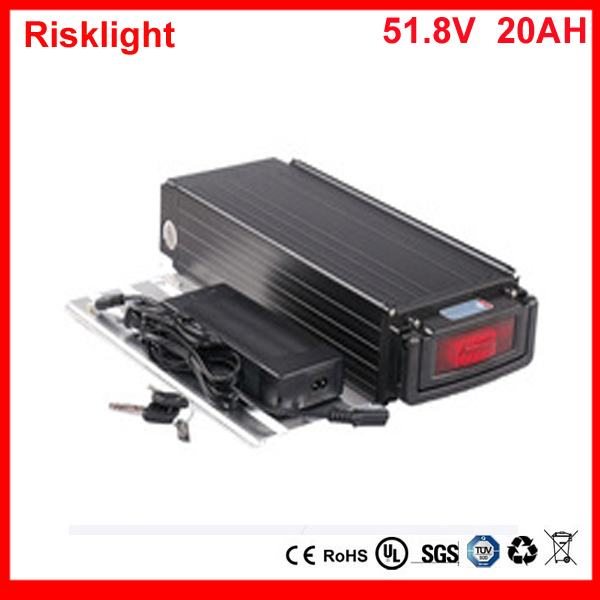 Rear Rack 51.8V 20Ah eBike Lithium Battery 52V 18650 Battery Pack for 48v 1000W 8Fun BBSHD Motor with 2A Faster Charger free customs taxes super power 1000w 48v li ion battery pack with 30a bms 48v 15ah lithium battery pack for panasonic cell