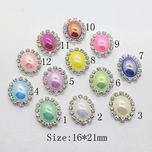 New Oval 16 21MM Bright pearl rhinestone Button tray cap setting Wedding  inviations decorate hair flower center scrapbooking 838477d5753e
