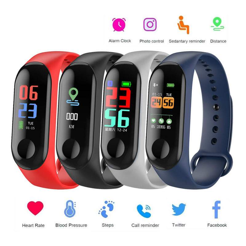 2019 Color Screen Smart Wristband Sport Fitness Bracelet Waterproof Blood Pressure Oxygen Activity Tracker For Men Women watch(China)