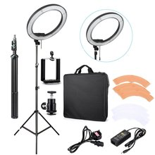 ES240 240 LED 18″ Stepless Adjustable Ring Light Camera Photo/Video 240pcs LED 5500K Dimmable + 2 Color Filter + stand