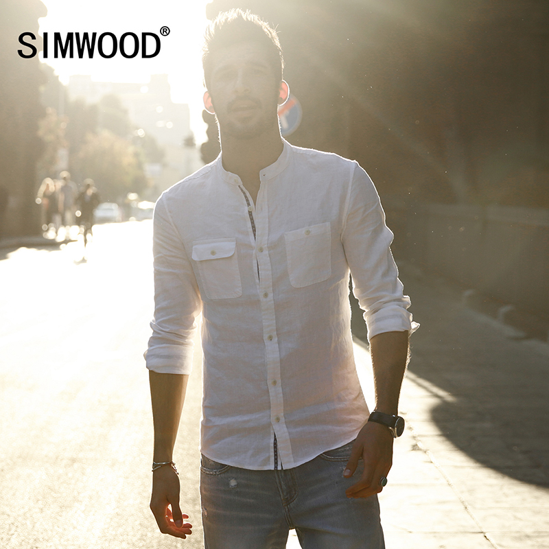 SIMWOOD Brand 2017 New Arrival Spring Casual Shirts Men Long SLeeve Slim fit Mandarin Collar Clothing CS1591