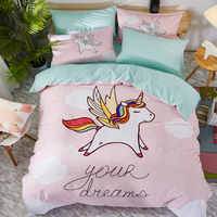 Lovely Cartoon Unicorn Panda Bulldog Dinosaur Bear Printing 100% Cotton Child Bedding Set Duvet Cover Bed Linen/Sheet Pillowcase