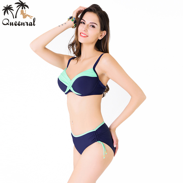 f55639cd02 Queenral plus size Swimwear Bra underwear women brazilian female underwear  beach wear bathing suit women bra set plavky