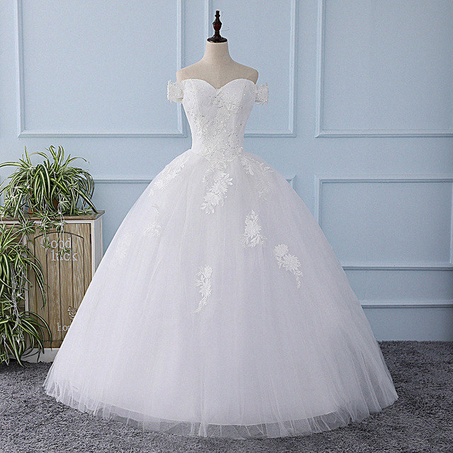 It\'s YiiYa New White Wedding Dress Sequined Simple Tulla Pattern ...