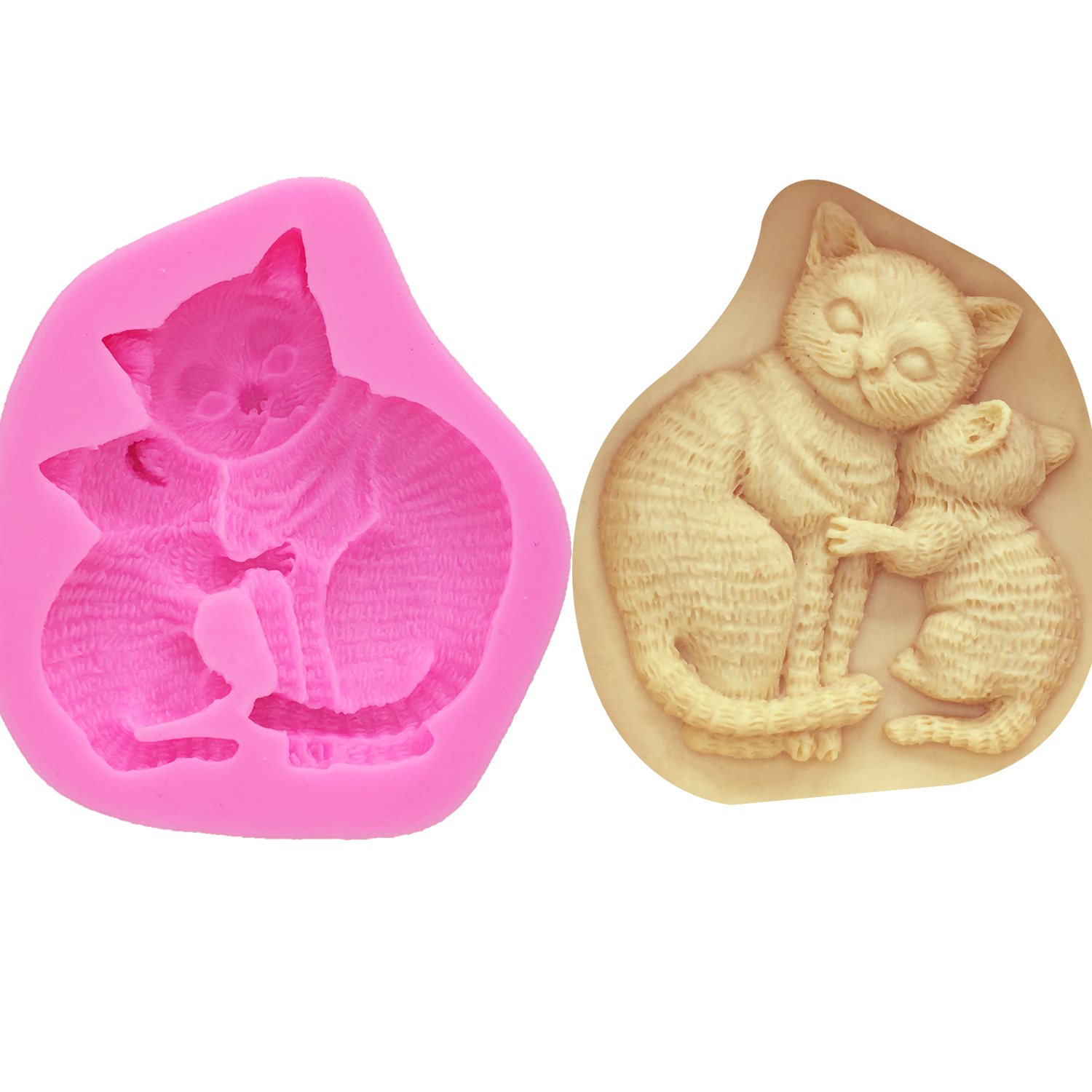 Two kittens round handmade soap silicone mold-Couple fox mold-Love butterfly knot cat mold-Cake decoration mold-Home life crafts mold