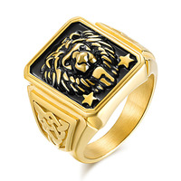 Fashion Jewelry Super Cool Lion Rings Stainless Steel Gold Color Punk Man Ring Vintage Gothic Jewelry