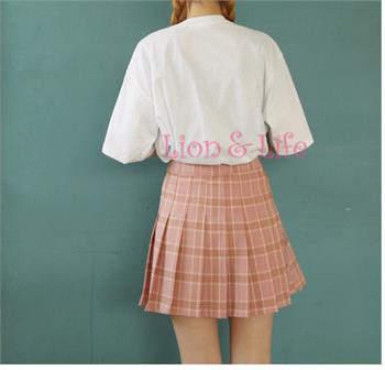 3a0f2bb6 US $14.78 16% OFF|Chic śliczne słodkie kratę plisowana spódniczka z wysokim  stanem mundurek szkolny kobiet garnitur Mini plisowana spódnica panie ...