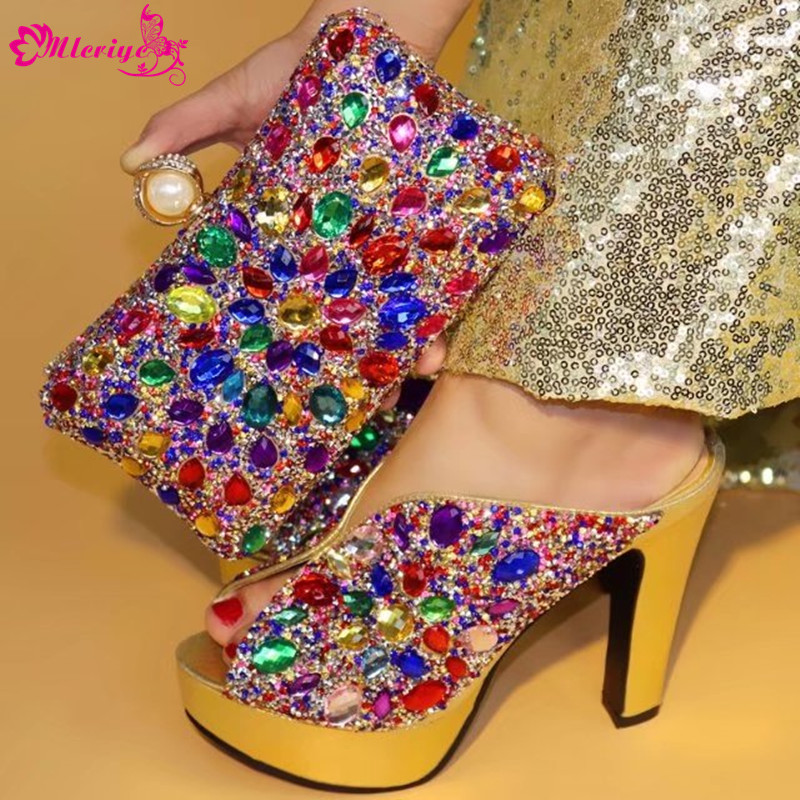 Latest Design Italian Shoes with Matching Bags Set Decorated with Rhinestone Shoe and Bag Set for Party In Women Summer Pumps hot artist nigeria style shoes and bags set for party in women italian rhinestone woman pumps shoes and bag set for party bl735c