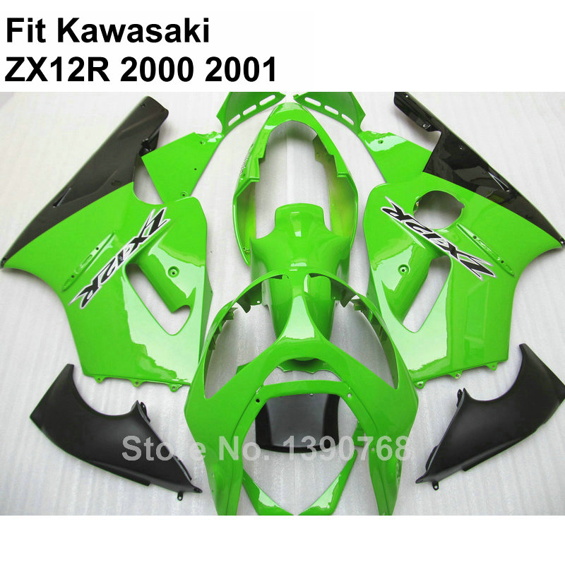 цена на Hot sale fairings for Kawasaki Ninja ZX12R 2000 2001 lime green fairing kit ZX-12R 00 01 NB12