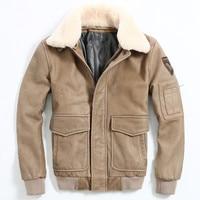 HARLEY DAMSON Men Brown Air Force Flight Leather Jacket Wool Collar Size XXXL Genuine Cowhide Russian Pilot Leather Coat