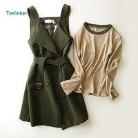 Tonlinker Women high quality office Work Wear 2 Pieces Dress Vintage Retro Spring Autumn Dress Knit shirt back skirt suit dress