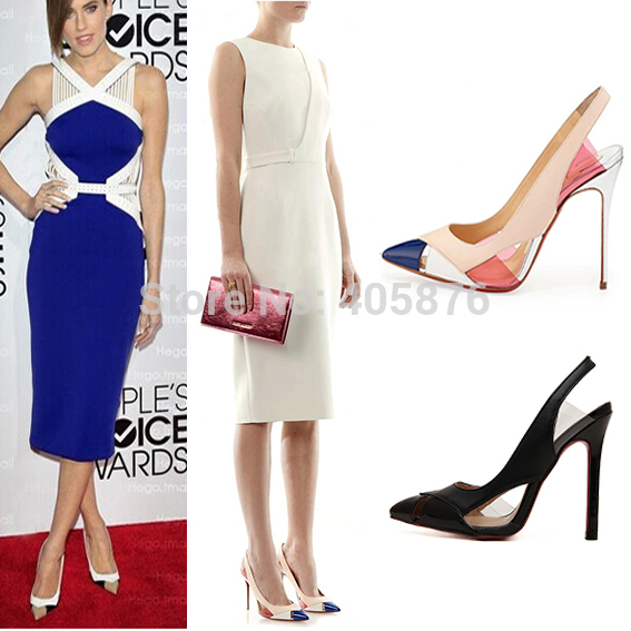 2015 Ladies Sexy High Heels Fashion  Women Pumps Patchwork Pointed Toe Slingback Thin Heels Brand Women Dress Shoes