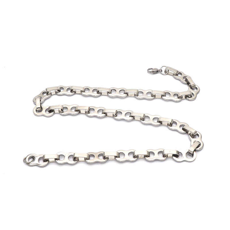 Sprzedaż hurtowa ze stali nierdzewnej naszyjnik łańcuszkowy dla mężczyzn srebrny czarny bizantyjski męskie naszyjniki moda biżuteria N051720