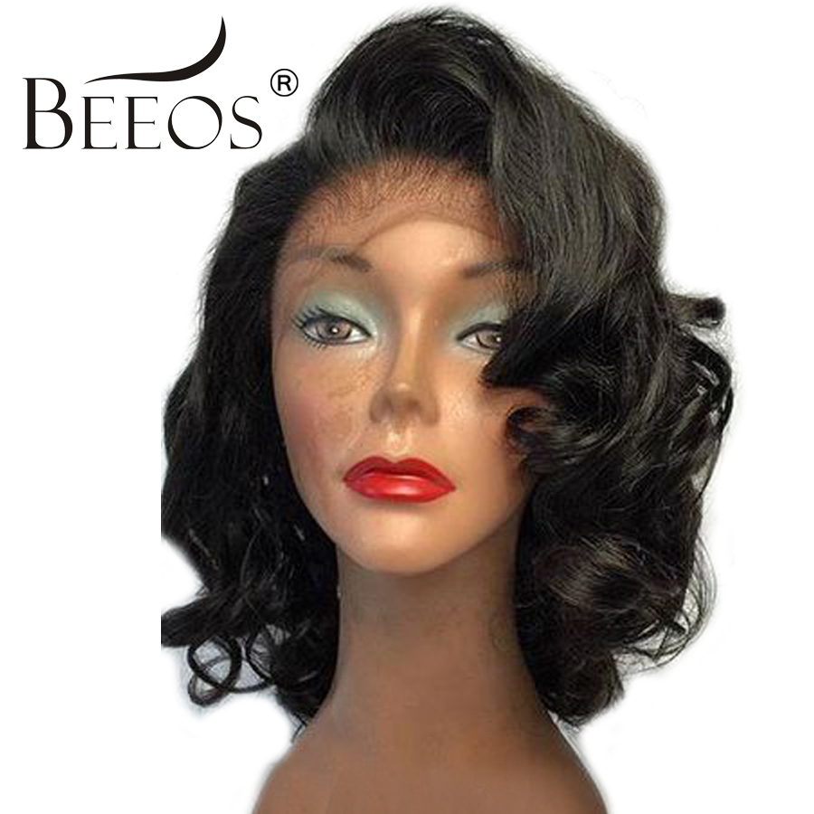 BEEOS Curly Lace Front Wig Brazilian Remy Hair 150% Density 8-16 Inch Short Human Hair Wigs For Women Pre Plucked Lace Wigs