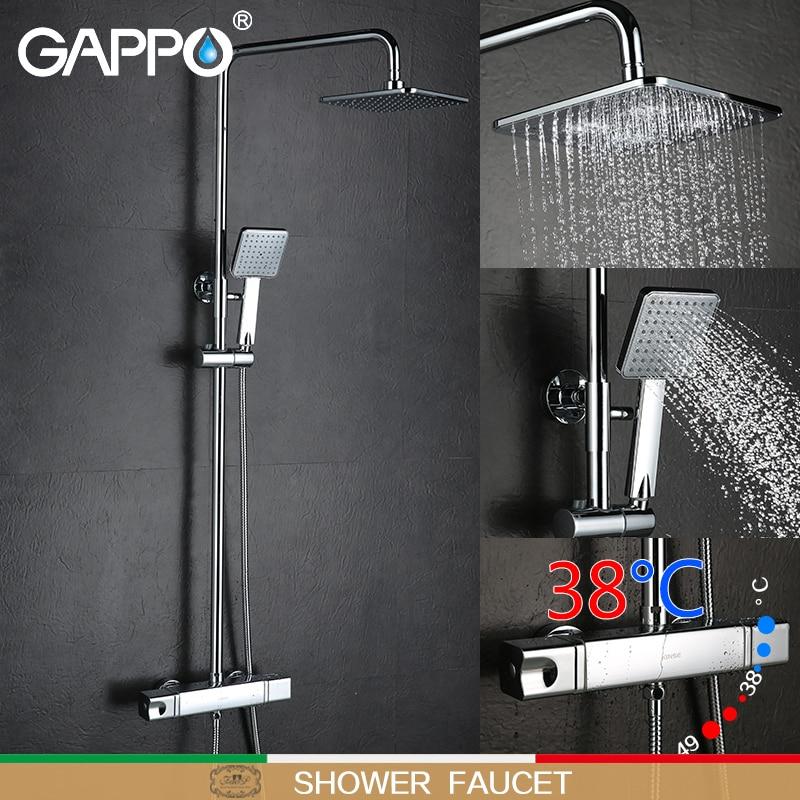 GAPPO douche baignoire robinet mélangeur robinet salle de bains thermostat robinet cascade de montage mural mélangeur de douche thermostatique système de douche