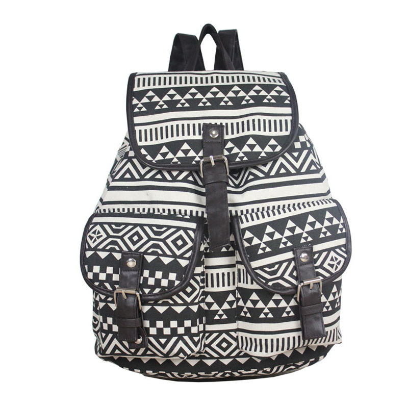 Women printing Canvas school bags girls school backpack Drawstring anti theft backpack back pack rugzak free shipping T22