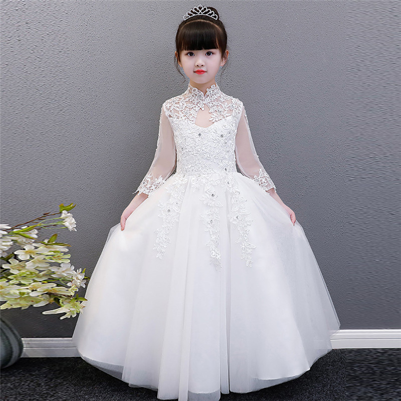 2018Spring New Luxury Children White Princess Lace Ball Gown Dress Kids Baby Birthday Party Wedding Pageant Lace Dresses Clothes 2017 new high quality girls children white color princess dress kids baby birthday wedding party lace dress with bow knot design
