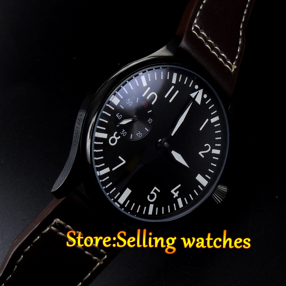 все цены на  Parnis 44mm black sterile dial PVD case black leather strap hand winding 6497 men's watch  в интернете