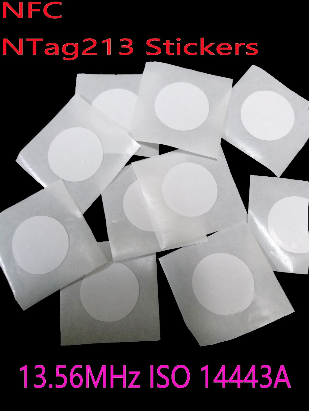 100pcs/Lot NFC Tag  Ntag213 ISO14443A 13.56MHz NFC Sticker Ntag 213 RFID NFC Tags Stickers Adhesive Labels For All NFC Phone