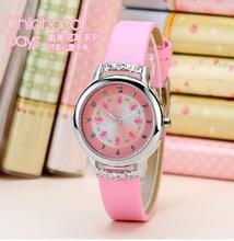 2018 hot venda high-end para crianças relógio menina relógio de quartzo rosa das meninas meninas simples doce dos desenhos animados relógio relógio relógio de presente do menino