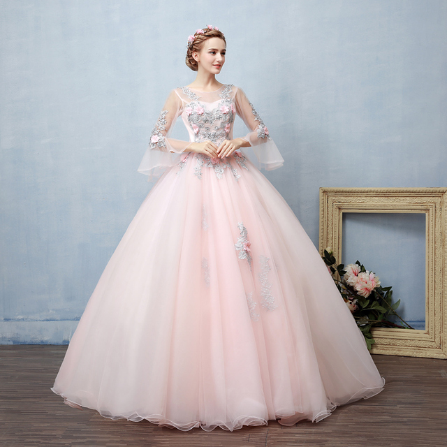 100%real light pink silver embroidery ball gown princess medieval ...