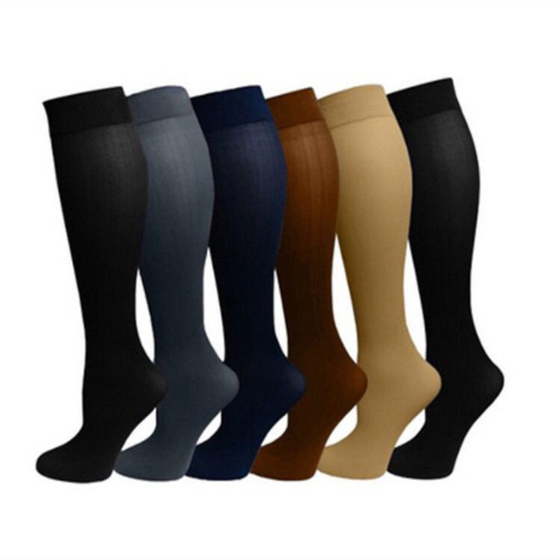 Men Pressure Long Socks Sports Nylon Over Calf Unisex Stress Leg Slimming Compression Miracle Solid Black Relief New Fashion Sox