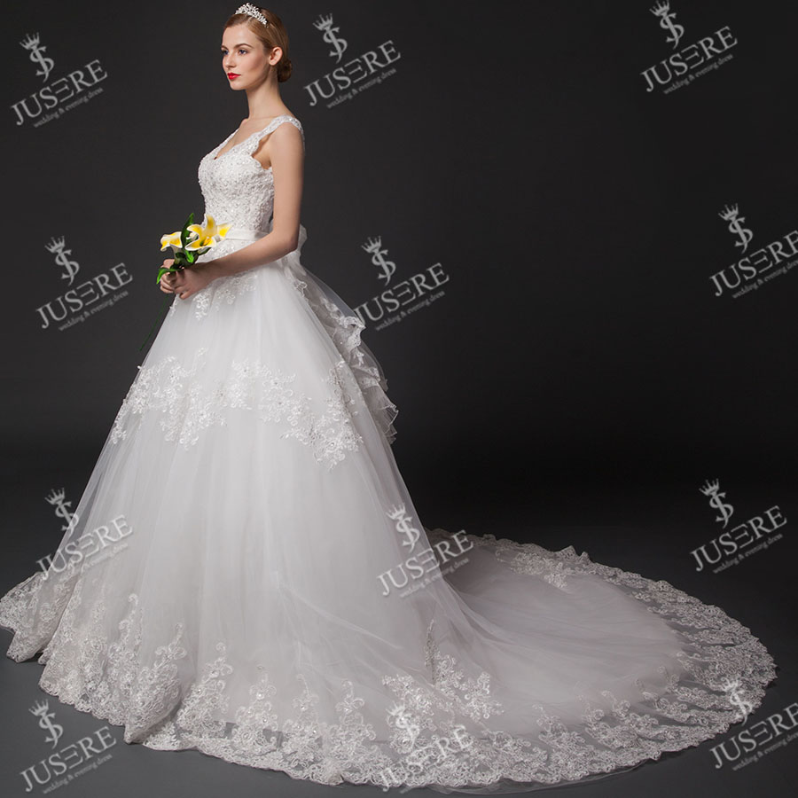 JUSERE Luxury V-neck Sleeveless Lace Tulle Beading Crystal Sash Tiered Applique Ball Gown Lace Big Train Wedding Dress 2015