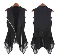Free Shipping 2013 New Chiffon Vest Spring Models Women Slim Long Jacket Europe Sleeveless Waistcoat Waistcoat