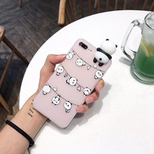 Cyato 3D Cute Cartoon Panda Case For iPhone X 8 7 6 6s Plus 5 5S SE Funny Toys Clear Lovely Bears Shockproof Soft TPU