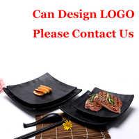 120 stücke Großhandel Japanischen Unzerbrechlich Schwarz Melamin Platten Kunststoff Sushi Gerichte Für Hotel Restaurant Angepasst Schnelle Versand