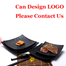 120pcs Wholesale Japanese Unbreakable Black Melamine Plates Plastic Sushi Dishes For Hotel Restaurant Customized Fast Shipping