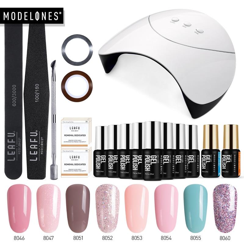 Modelones 36W Led Lamp Nail Art Manicure Tools Set Smart Sensor UV Lamp Nail Cure Machine 8Pcs Semi Permanent Hybrid Varnish Kit