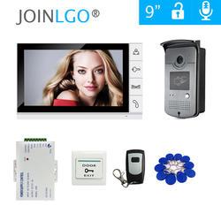 """Бесплатная доставка 9 """"цветной экран видео домофон система + 1 белый монитор + Водонепроницаемый RFID дверной Звонок камера + пульт"""