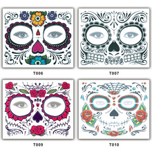 4937a409f 1Pc Zombie Day of The Dead Temporary Tattoo Mask Costume Sugar Skull Cool  Design Full Face