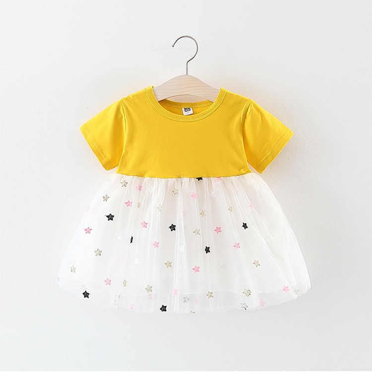 Verão Vestido Da Menina Do Bebê Recém-nascido Infantis Estrelas Lantejoulas Bebê Vestido de Princesa Crianças Vestido de Festa Da Moda da Roupa Do Bebê