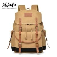 MANJIANGHONG Retro Men's Backpack High Quality Men Travel Bag Fashion Casual Canvas Softback Large Capacity Men Student Bag