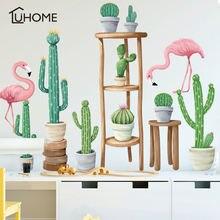 Садовый кактус растение бонсай на табурете фламинго настенные