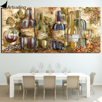 HD gedrukt 3 stuk canvas schilderij grote abstracte schilderijen fles wijn muur pictures voor woonkamer Gratis verzending/NY-6681D