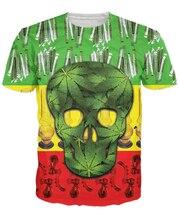 Rasta Skull T-Shirt 3d Unisex Print Vibrant T Shirt Women Men Summer Hip Hop Harajuku T-Shirt Tops Tee Short Sleeve 5XL R2854