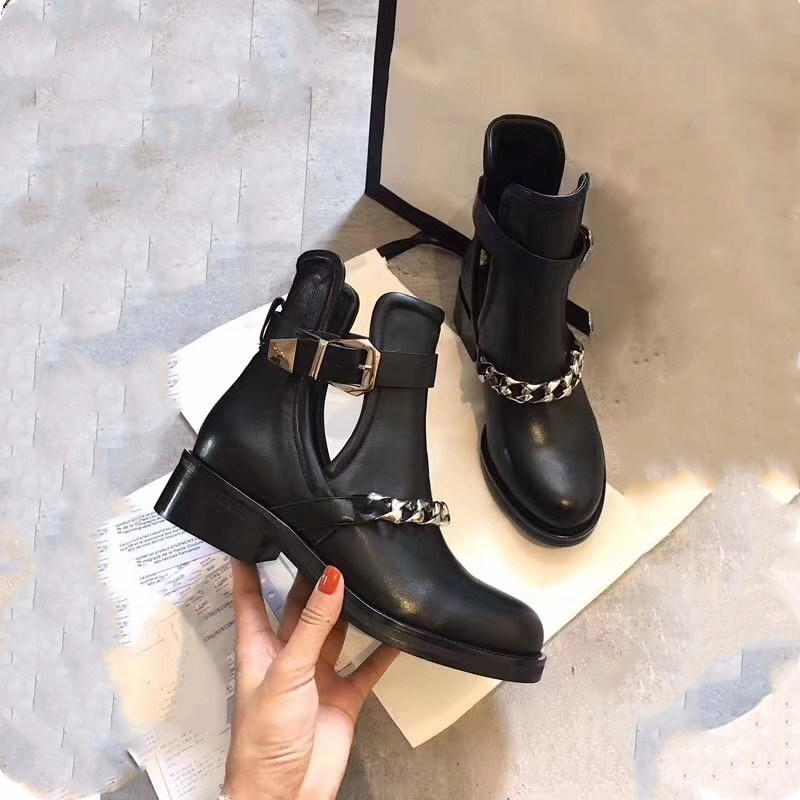 Fashion chain ankle boots women's tailored retro high heel ladies gladiator thick with women's shoes flocking buckle strap ankle