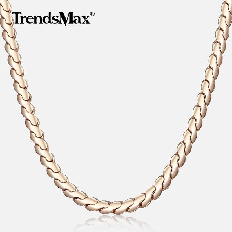 Colar das mulheres 585 rosa ouro serpentina ligação espinha de peixe corrente colar para mulheres jóias moda presentes drposhipping 2mm cn16