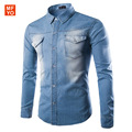 2016 Brand Men'S Denim Shirts Fashion Men Casual Jeans Shirt New Arrival Long Sleeve Casual Slim Fit Male Shirts Chemise Homme