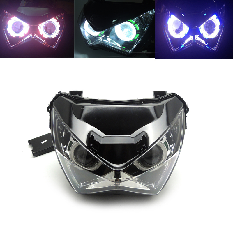 KEMiMOTO For kawasaki Z800 Motorcycle Headlight Angel eye HID Projector Custom Head light Assembly lamp Z 800 2013-2016 kt headlight for honda goldwing gl1800 2001 2017 led angel eye blue demon eye motorcycle hid projector assembly 15 14 13 12 11