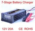12 V 20A 7-stage Chumbo Ácido Carregador de Bateria inteligente, carregador de bateria de carro, MCU controlado, carga do pulso